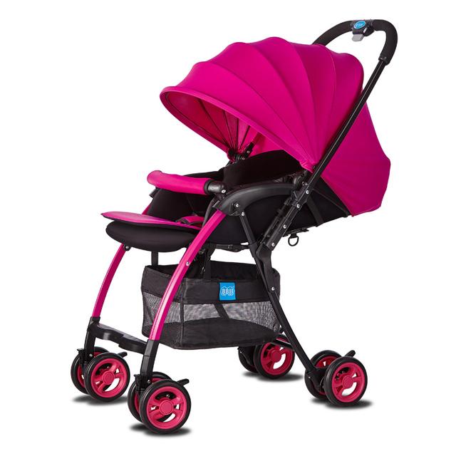 2016 Moda Bebê Luz Carrinho De Criança de Carro Do Bebê Portátil Carrinho de Criança Dobrável de Alumínio Pode Sentar Mentindo À Prova de Choque Carrinhos para recém-nascidos C01