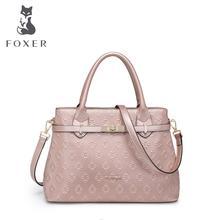 FOXER 2016 nueva bolsa de piel de vaca superior de cuero genuino de las mujeres famosas marcas de moda en relieve de cuero de las mujeres bolsos de cuero bolso