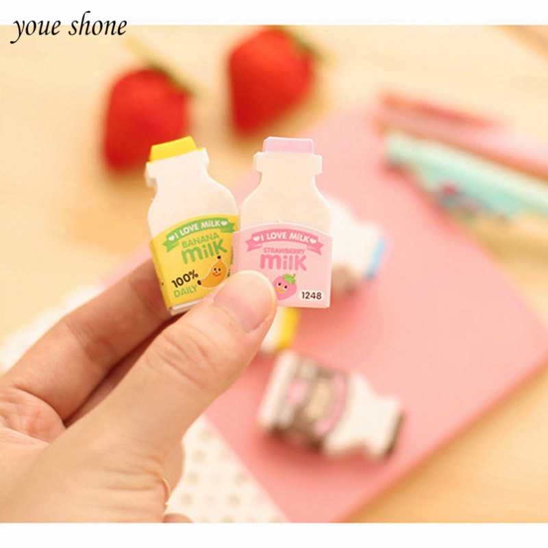 2 Bottles/lots Milk Bottle Cartoon Rubber Erasers For Pencil Novelty Children Supplies School Student Stationery