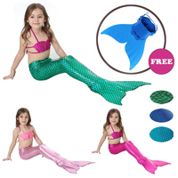 4PCS Set Swimmable Baby Girl Kids Mermaid Tail Cosplay With Monofin Fancy Dress Swim Bikini Set