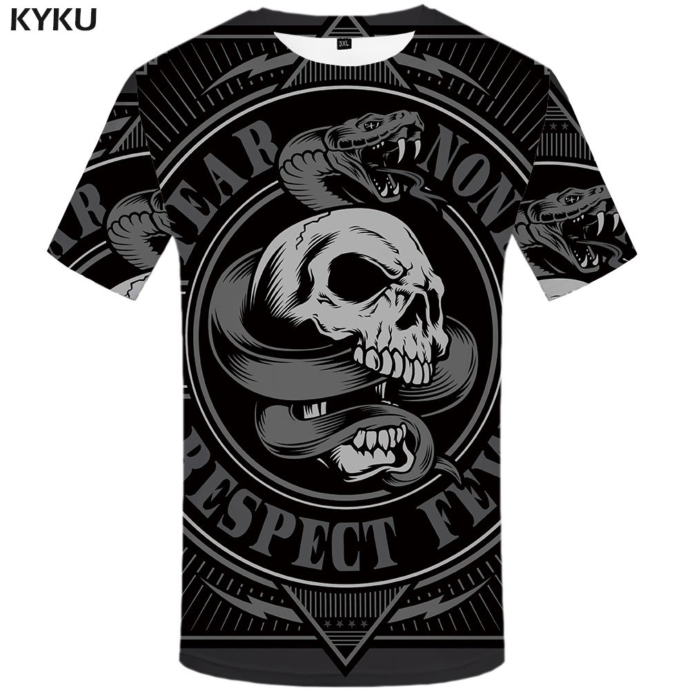 4a3db80b53c0e KYKU Animal T Shirt Men Black Skull Tshirt Snake 3d Print T-shirt Cool Funny