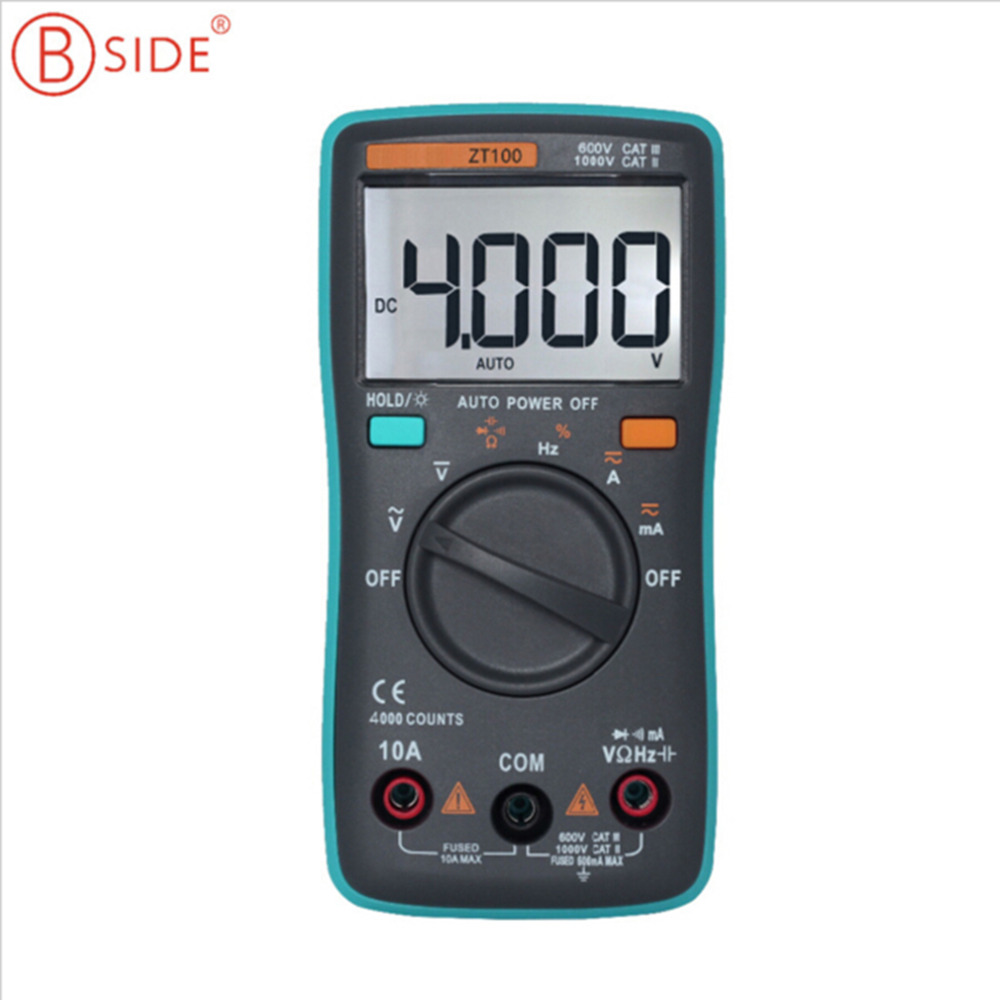 BSIDE ZT100 Digital Multimeter 4000 counts Backlight AC/DC Ammeter Voltmeter Ohm Low Voltage Indication Hot Sale наушники bbk ep 1200s вкладыши оранжевый проводные
