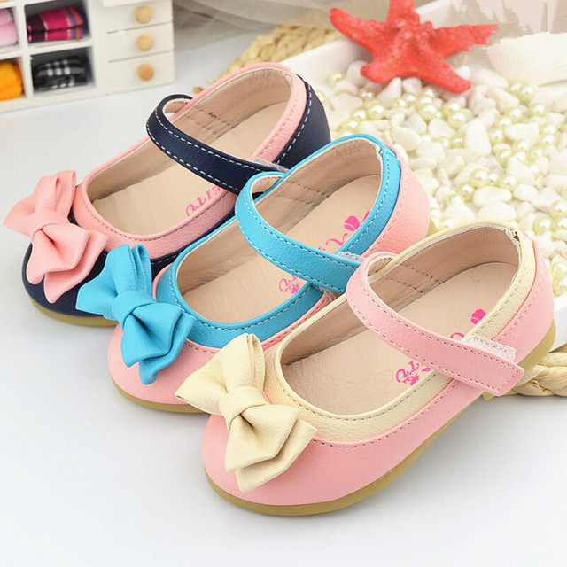 2016 children leather shoes for girls baby shoes kids Bow sandals child Flat with sneakers Fashion princess girl Casual shoe