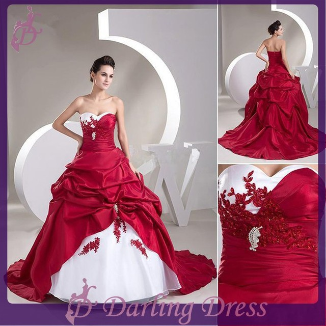 06762e9b3b78 CX812 New arrival high-ending taffeta applique beaded ball gown bridal red  and white christmas wedding dress