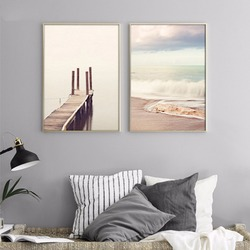 Wooden Bridge Sea Beach Landscape Minimalist Art Canvas Poster Painting Motivational Quote Wall Picture Modern Artwork