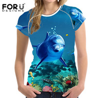 FORUDESIGNS Summer Women T Shirt Sea World Dolphin Printed Tee Shirts For Women T Shirts Female