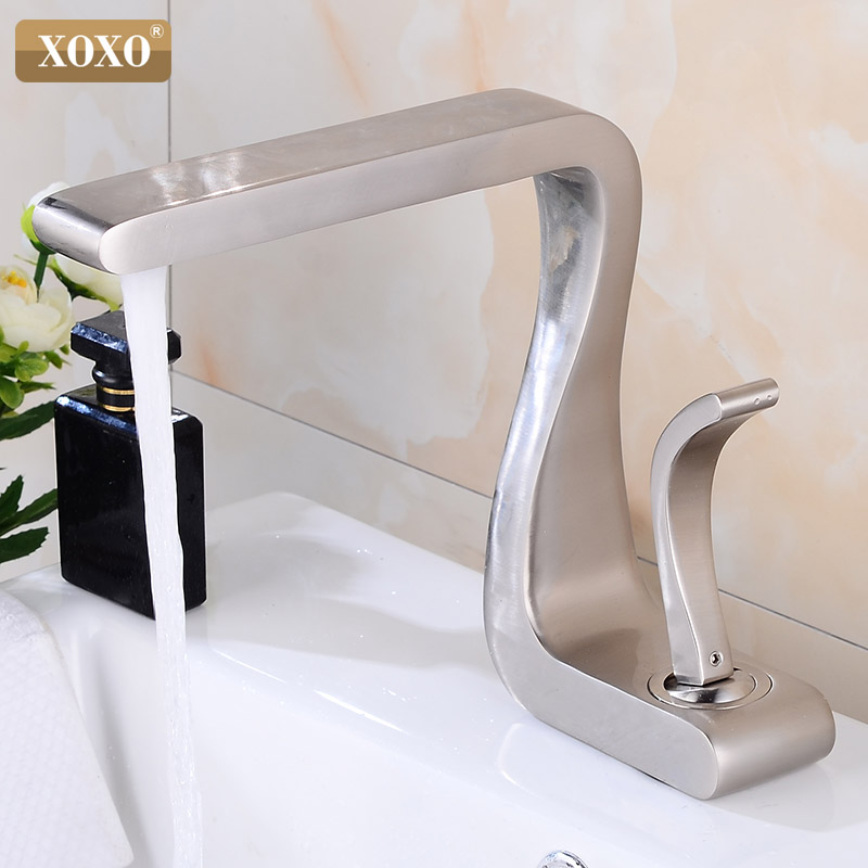 XOXO Bassin Robinet Noir En Laiton Chaude et Froide Poignée Unique bassin mélangeur Robinet Pont Monté robinets de salle de bain lavabo 21035 - 5