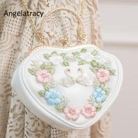 Angelatracy New Heart Shape Bag White Swan Embroidery Handbag Japan Lolita Flowers Purse Mini Shopping Bag PU Chain Shoulder Bag