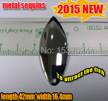 2015new fishing spoon spinner bait metal sequins size 42mm*16.4mm willow leaf blades lures quantily:50pcs/lot