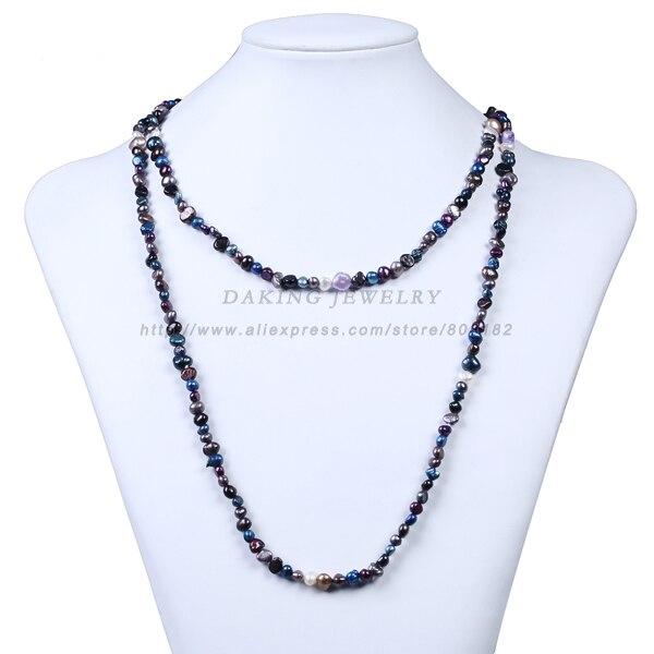 Collar largo de 120 cm de perlas irregulares naturales de agua dulce