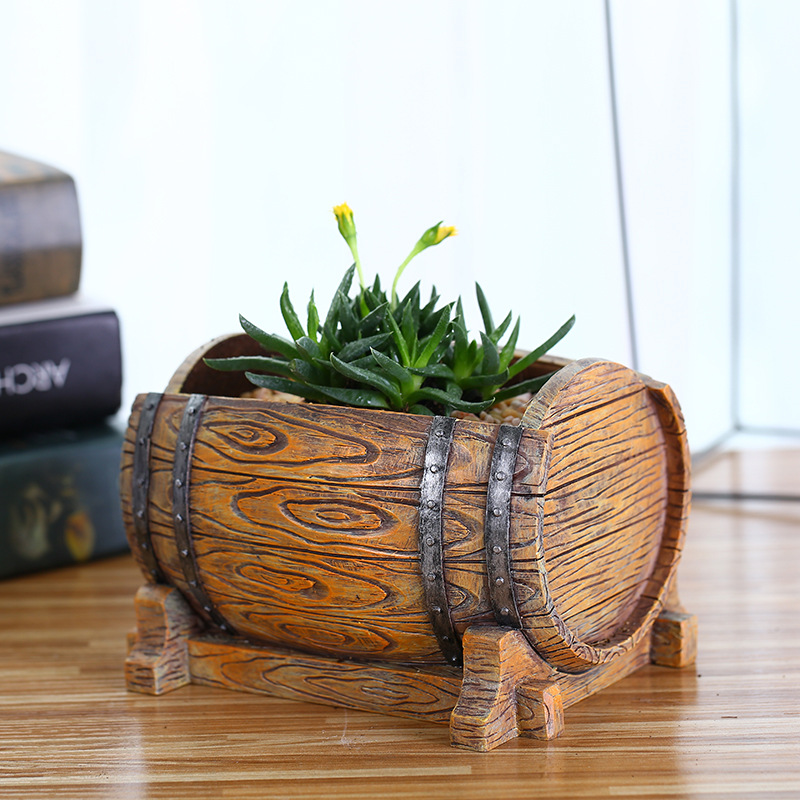 Wine Barrel Creative Succulent Flower Pot Resin Indoor Meaty Potted Home Decorations Craft Ornament