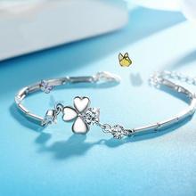 Everoyal Romantic Crystal Clover Bracelets For Girls Birthday Gift Fashion 925 Silver Bracelet Women Bride Wedding Jewelry Charm цена