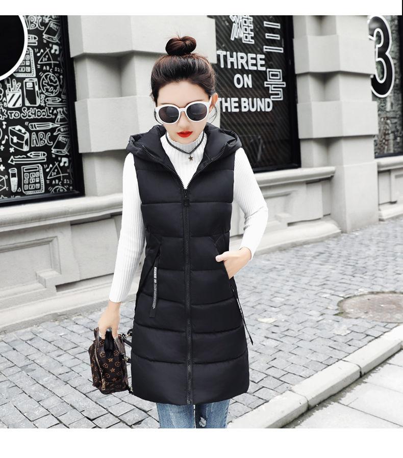 Autumn Winter Women Waistcoat Sleeveless Vest Jacket Hooded Warm Long 24