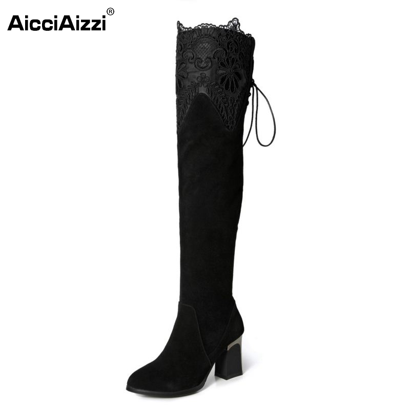 Women Genuine Real Leather Over The Knee Boots Winter Boots Sexy High Heel Classic Round Toe Zipper Women Boots Shoes Size 33-42 купить