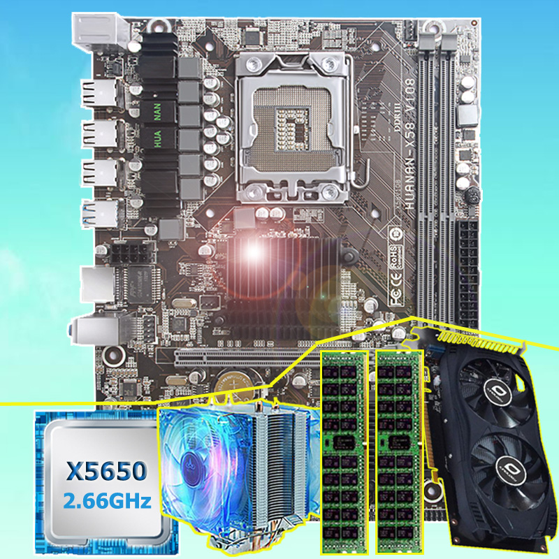 Scheda madre di marca fascio HUANAN ZHI X58 scheda madre con CPU Intel Xeon X5650 16g (2*8g) REG ecc memoria della scheda video GTX750Ti 2GD5