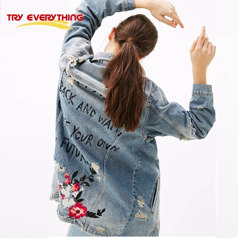 Try Everything Floral Embroidery Jacket Coat Autumn Long Ripped Denim Jacket Women Plus Size Jeans Jacket Women 2017 Winter 3XL