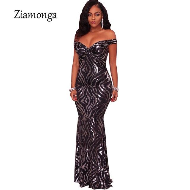 Ziamonga 2018 Brand Design V-Neck Slim One-Piece Sequin Dress Black Short  Sleeve Party Dress Women Floor Length Long Maxi Dress e1927e11acb3