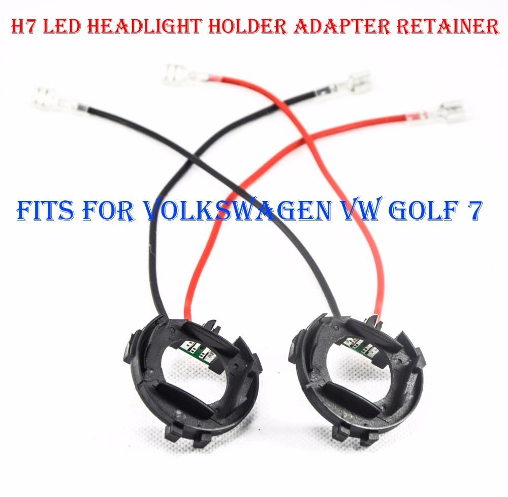 2PCS H7 Sada pro přestavování světlometů LED Držák adaptéru Držák adaptéru Spona držáku sponky pro Volkswagen VW Golf 7 HID Halogen Convert