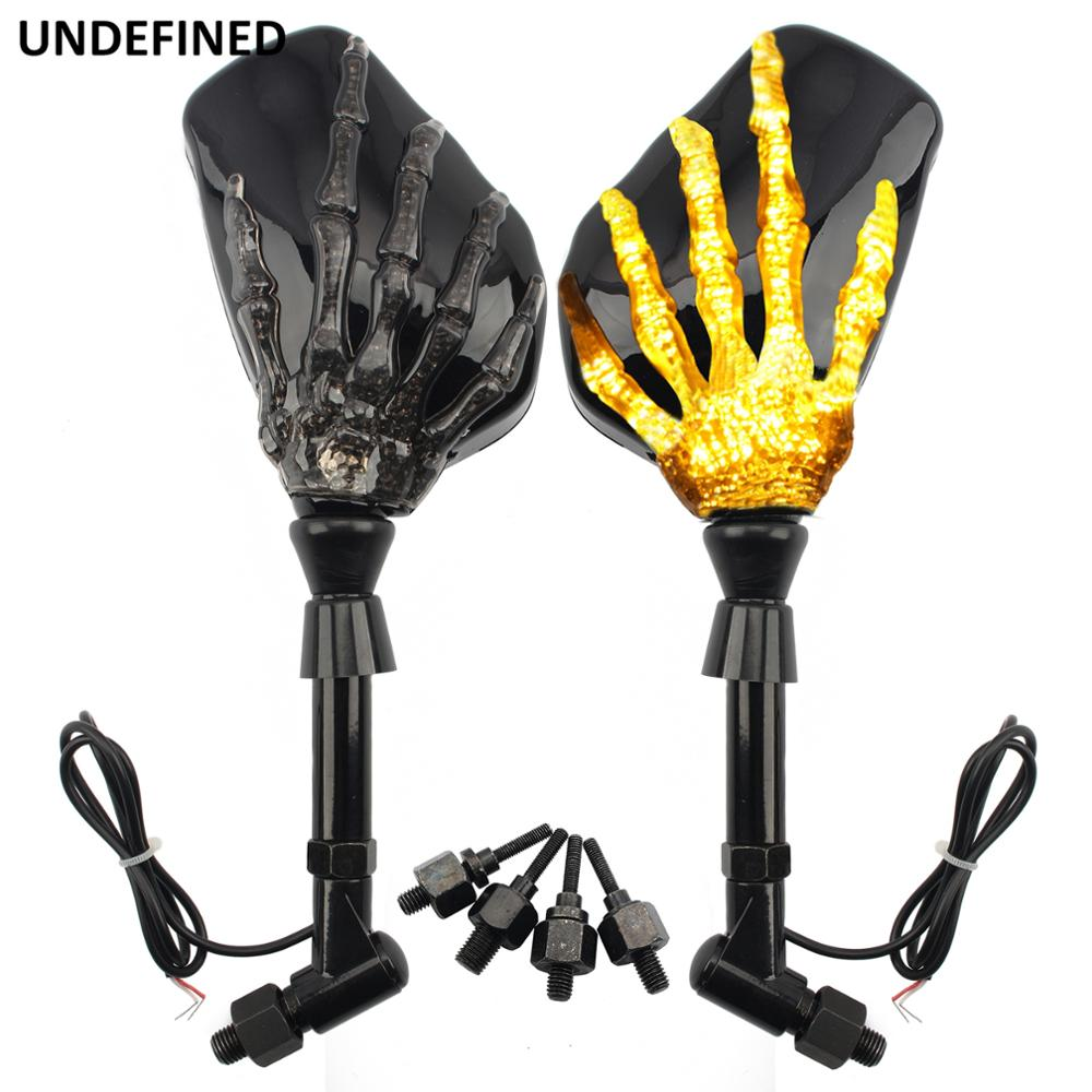 10mm 8mm Skull Hand Motorcycle Mirror Skeleton Ghost Claw LED Turn Signal Light Rearview Mirrors For