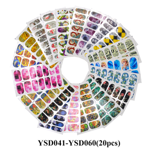 Image 2 - Wholesale Mixed 2020 Newest Designs Watercolor Floral Flower Sticker Nail Decal Set for Gel Manicure Decor Water Slider Foil Set