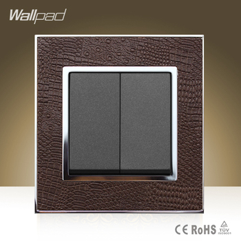 цена на Wallpad Hotel Square 2 Gang 2 Way Switch Goats Brown Leather Double Control  2 Gang 2 Way Push Button Light Switch Free Shipping
