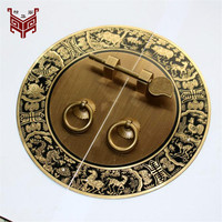 140mm 180mm 240mm Wardrobe Door Handle Chinese Copper Antique Round Handle Retro Zodiac Signs Engraved Design