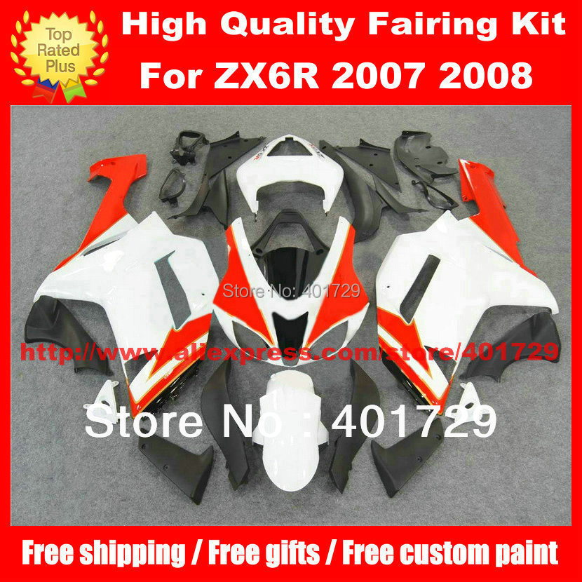 High grade Body work for Ninja ZX6R 07 08 ZX 6R 2007 2008 white/red/black fairings body kit with free windshield and heatshield