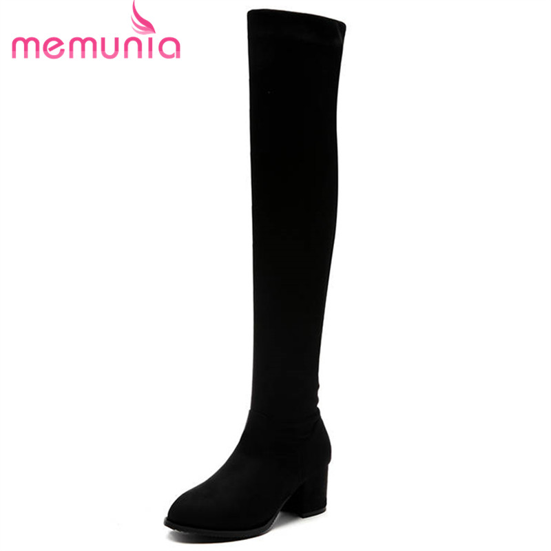 MEMUNIA 2018 black big size 34-43 flock over the knee boots women zipper fashion elegant high heels boots autumn winter booties memunia top quality over the knee boots fashion elegant womens boots female zip flock solid med heels shoes woman big size 34 44