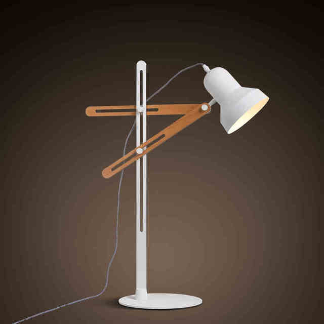 Contracted geometry style white solid wood adjustable table lamp contracted geometry style white solid wood adjustable table lamp creative reading burner bedroom study table light aloadofball Image collections