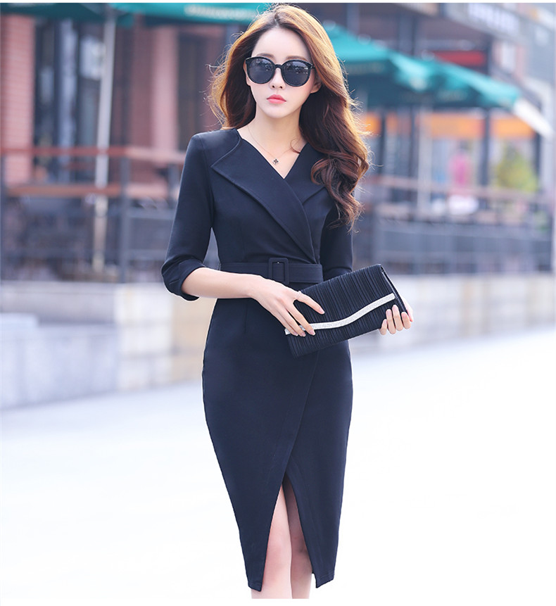 2018 Autumn Straight Elegant Vantage Half Sleevel Belted Dress Women High Waist Suit Style Slim Office Ladies Dresses