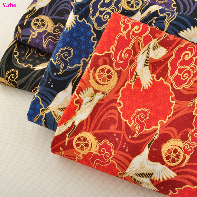 110 50cm 1pc Anese Kimono Fabric Bronzing Gold Cotton Imported Crane Bird Printed Sewing Material Diy Clothing