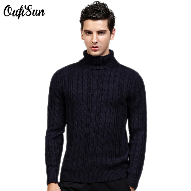 6971dea8e6c Oufisun Men's Black Wool Turtleneck Sweater Slim Fit Solid Knit Cashmere  Pullovers 100% Acrylic Sweaters Men Brand clothing 931