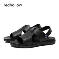 Fashion Summer Sandals Men's Cow Leather Beach Sandals Slippers Casual Men Shoes Rome Sandals Flat Slip On Shoes For Man Sapatos