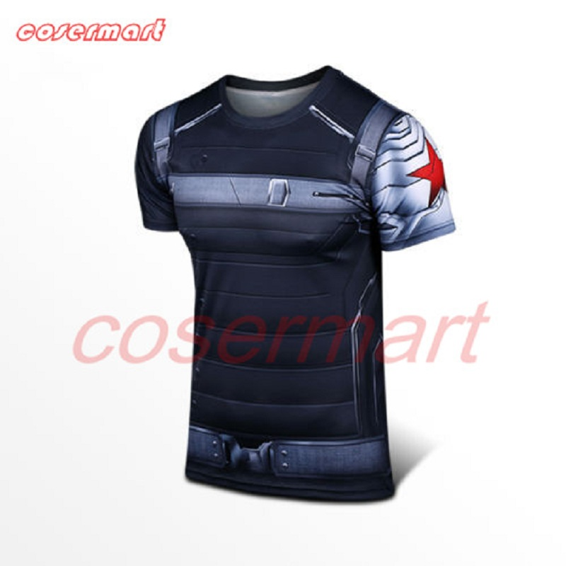 2016 New Captain America 3 Winter Soldier Bucky Barnes 3D T-Shirts Cosplay Costumes Halloween