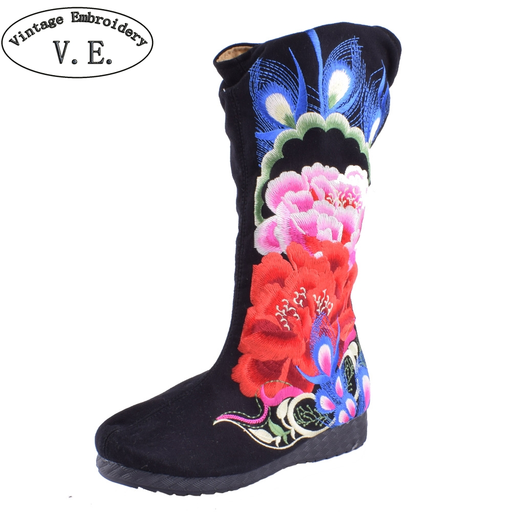 Chinese Embroidery Boots National Ethnic Big Peony Pteris Embroidered Old BeiJing Boutique Flower Canvas Shoes Plus Size 41 2018 bride red wedding shoes old beijing national wind embroidered cloth shoes chinese retro tassels show shoes