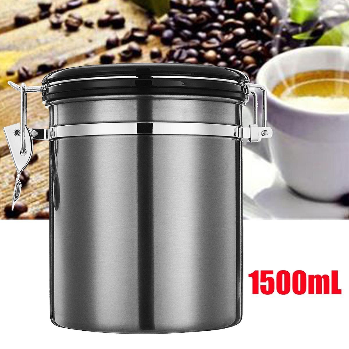 1.5L Coffee Beans Candy Sugar Tea Jar Storage Sealed Container Lid w/Valve Pot 680ml glass storage jar purple