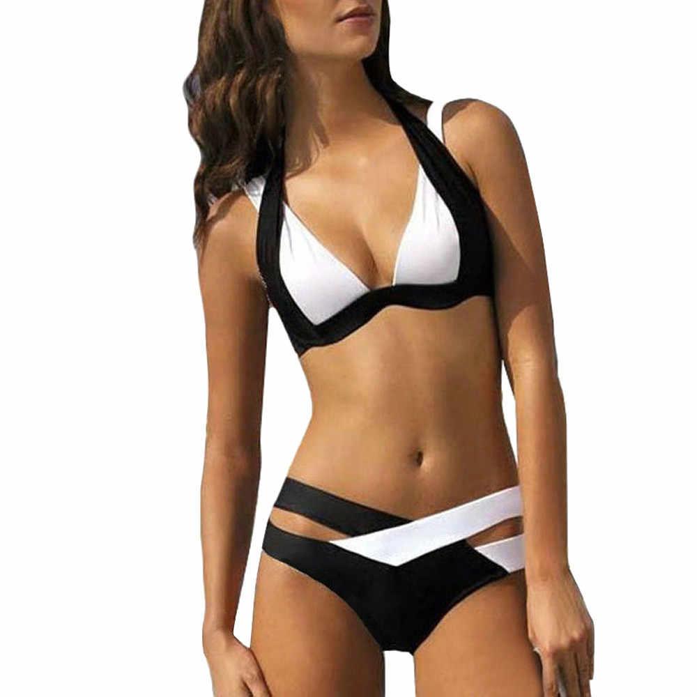 Kadınlar Push-up yastıklı sütyen plaj Bikini seti beyaz siyah Patchwork Vintage mayo mayo yaz plaj kıyafeti Biquini 2019 #38