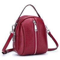 Lady Bag Holder Sling Mobile Phone Red bag Mini Tasjes Dames Case Crossbody Real Leather Bag for Women Pochette Sac Femme Bolso