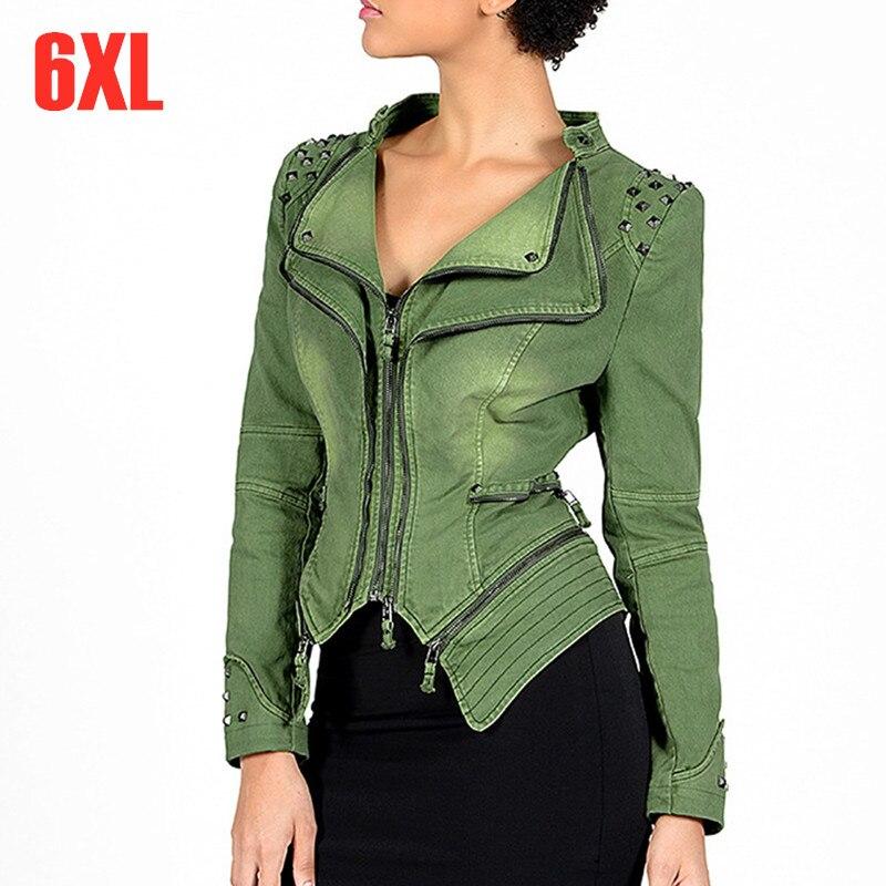 Printemps automne femmes Plus grande taille 5XL 6XL vêtement extérieur Jean veste femme Slim court moto Denim manteau jeans décontractés vestes