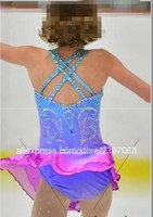 Kids Figure Skating Dress Purple Girls Figure Skating Dress Children Figure Skating Dresses Custom Free Shipping F34