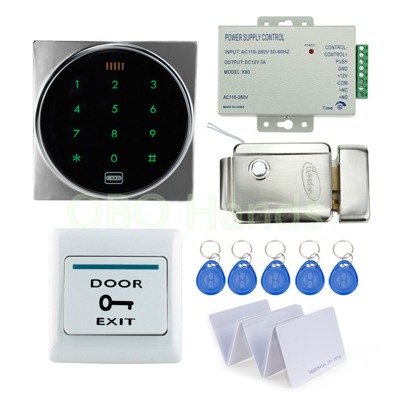Waterproof access control system kit set with electronic door lock +metal touch keypad+door lock+blank ID card for home security rfid security door lock system kit set with touch access control card reader electronic door lock for wooden door id keychains