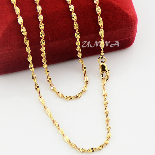 2mm Yellow Gold Color Filled Link Chain Wave Necklace ...
