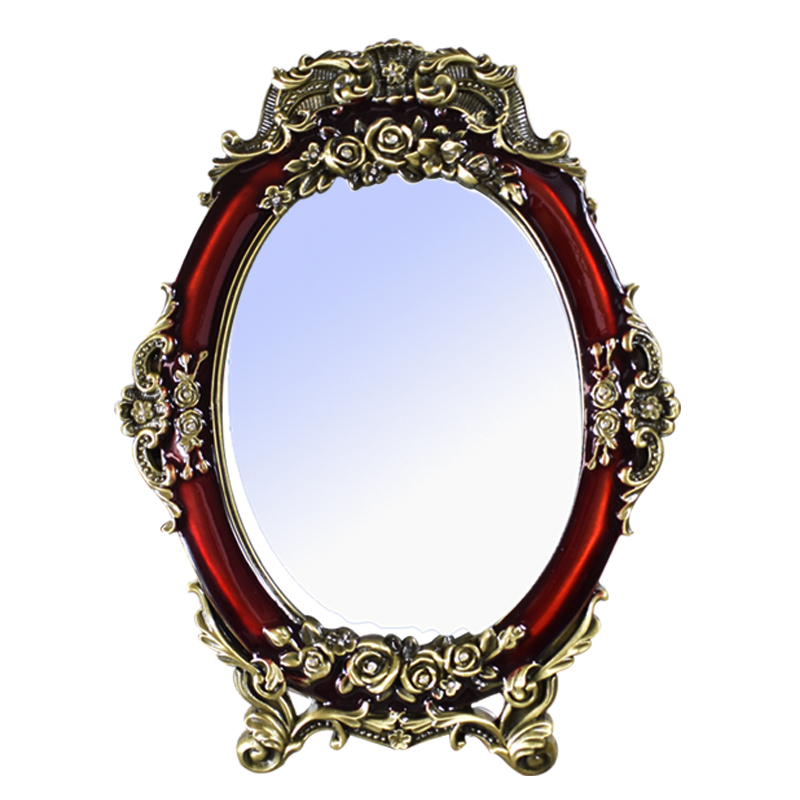 Married red European makeup mirror desktop dowry wedding supplies Princess retro metal vanity