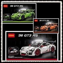 Em estoque 2726 pcs decool 3368 série technic 911 gt3 rs branco verde orange modelo kits de construção blocos tijolos compatível 42056