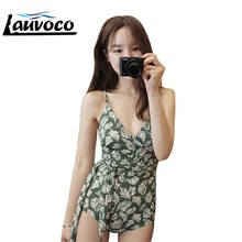 2018 V-Neck One Piece Swimwear Women Print Sexy Swimsuit Bandage Lace Bathing Suit Female Push Up Bodysuit Korean Beachwear