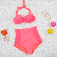 High Waist Swimsuit Solid Color Bikini Push Up Swimwear Women Two Piece Separates Swimming Suit For