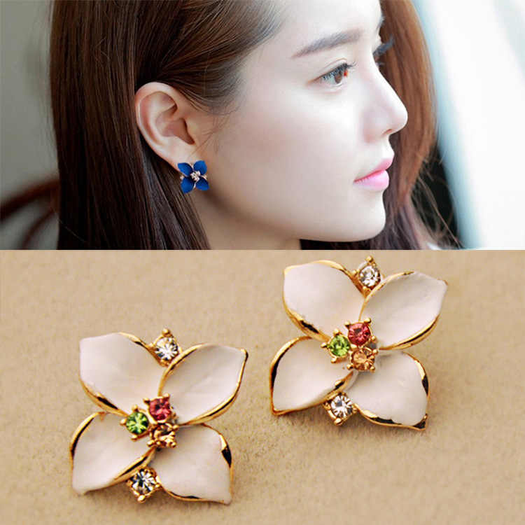 New Minimalist Brief Cool Style Gold/Silver Color flower Studs Earrings For Women Dress Jewelry