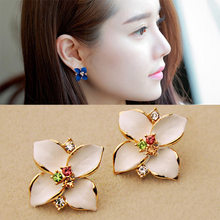 New Minimalist Brief Cool Style Gold/Silver Color flower Studs Earrings For Women Dress Jewelry(China)