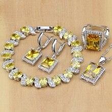 925 joyería de plata esterlina circón amarillo Juegos de joyería para las mujeres Pendientes/colgante/Collar/Anillos/pulsera