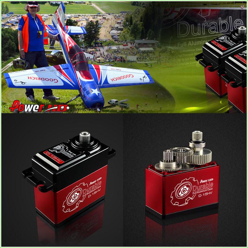 1 Pcs Power HD 15kg 8.4V HV Ultra Premium Digital Servo D-15HV with Metal Gears and Double Bearings